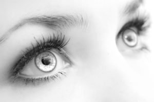 Beautiful female  eyes, very close, black-and-white. Expressive sight